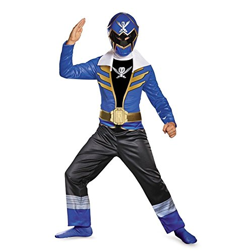 [Disguise Saban Super MegaForce Power Rangers Blue Ranger Classic Boys Costume, Medium/7-8] (Power Rangers Megaforce Halloween)