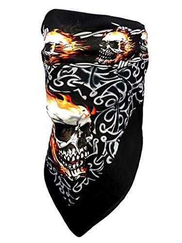 Skulls Flames Barb Wire Bandana Face Mask Cover Adjustable Close Reversible Biker Motorcycle Shield Bandanna For Men Women