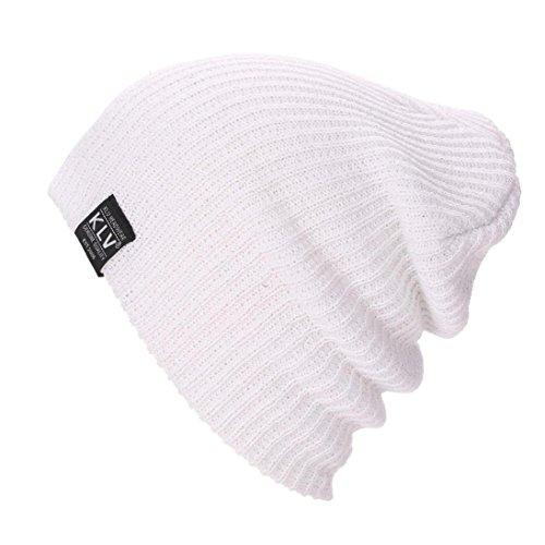 GBSELL Men's Women's Winter Knit Wool Slouchy Beanie Ski Hat Sport Caps (White) (Climbing Wool Beanie)