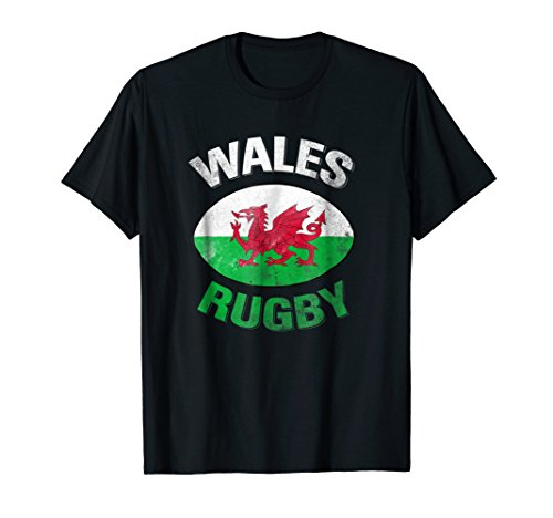 (Wales Rugby Shirt - Welsh Rugby T shirt with Wales Flag )