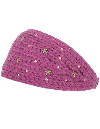 Dahlia Women's Knitted Buttoned Headband - Star-Dazzeled - (Dahlia Stars)