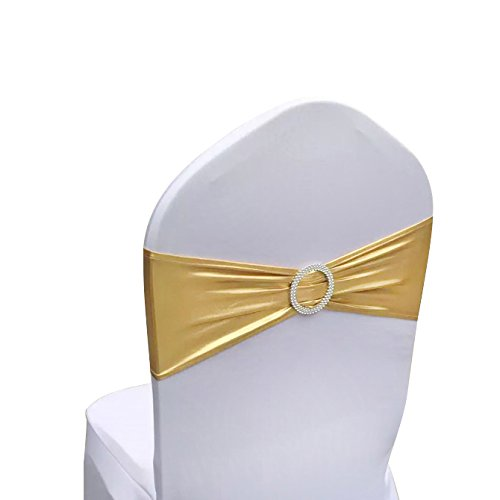 SINSSOWL Pack of 50PCS Elastic Slider Chair Sashes Spandex Chair Cover Band Bows for Wedding Decoration-Bronzing Gold