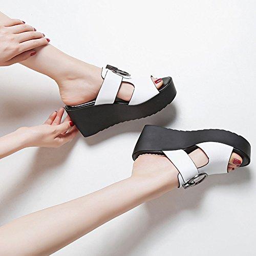 PENGFEI Zapatillas Pantofola Verano De Las Mujeres Fondo Grueso Cuña Playa Antideslizante, Altura del Talón 7.5CM, 2 Colores (Color : Negro, Tamaño : EU37/UK5/US6.5/235) Blanco