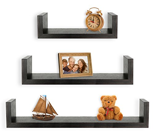 Greenco Set of 3 Floating U Shelves, Espresso Finish ()