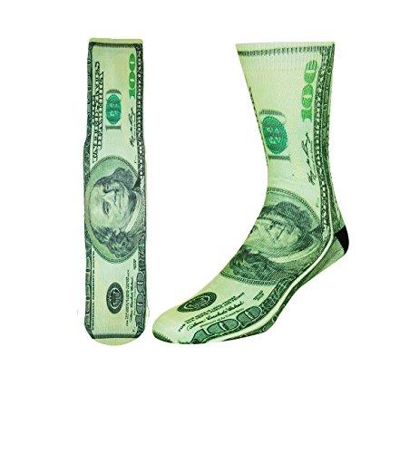 Men's Novelty Funny 3D Dollar Money Print Athletic Sports Crew Tube Socks