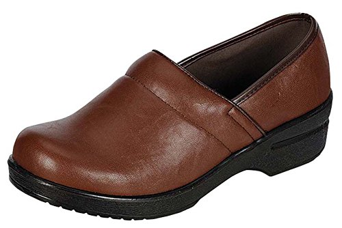 Refresh Footwear Women's Slip-On Professional Work Comfort Clog (7.5 B(M) US, Brown)