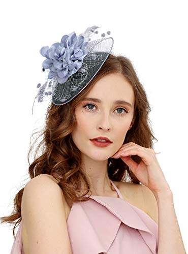 Fascinators Hats for Womens 50s Headwear with Veil Flower Cocktail Wedding Tea Party Church Derby Hat(1A-grey)