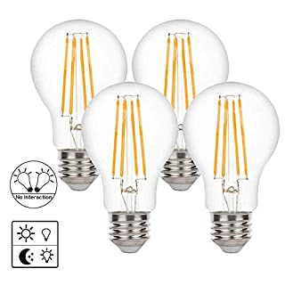 Yueximei A19 Dusk to Dawn Light Sensor LED Bulb, Filament Lamp, 6W 60W Equivalent, E26 2700K, 650 Lumens, Auto On/Off, Indoor Outdoor Lighting Lamp for Porch, Garage, 4 Pack