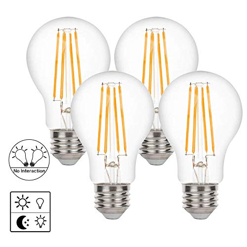 A19 Dusk to Dawn Light Sensor LED Bulb,Photocell Edison Vintage Filament Lamp,6W 60W Equivalent,E26 2700K,650 Lumens,Auto On/Off,Indoor Outdoor Lighting Lamp for Porch,Garage,4 Pack