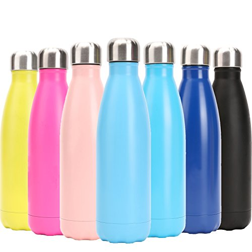 (DKASA Stainless Steel Vacuum Insulated Water Bottle,Cola Shaped,Business Convenience,Perfect for Outdoor Sports Camping Hiking Cycling, Keeps Your Drink Hot & Cold (Pink, 17 oz(500ml)))