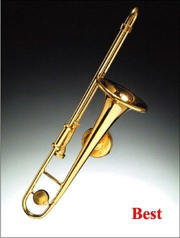 Gold Trombone Miniature Replica Magnet, Size 3 ()