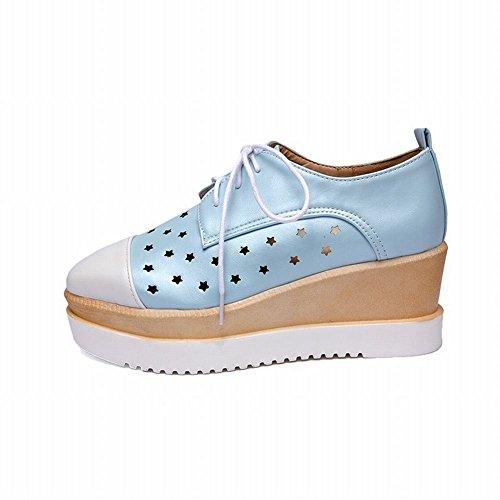 Latasa Damesmode-sterren Vierkante Teen Veterplateau Middelste Sleehak Oxford Schoenen Lichtblauw