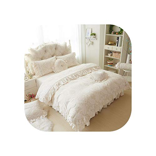 4/6pcs Princess Style Velvet Bedding Sets Cotton Warm Bed Linens Full Queen King Lace Flower Duvet Cover+Bedskirt+Pillowcases,Beige,Full Size 6pcs