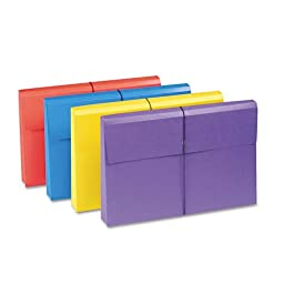 Smead Products - Smead - 2in Expansion Antimicrobial File Wallet, Legal, Blue/Purple/Red/Yellow, 4/Pack - Sold As 1 Pack - Treated to resist the growth of bacteria, mold and mildew that can cause stains, odors and product deterioration. - Flap with elasti