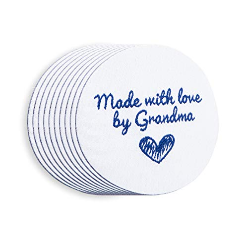 Wunderlabel Made with Love by Grandma Round Iron On Woven Clothing Label Tags Craft Art Fashion Granny Grandmother Nana Clothes Ribbon Sewing Garment Fabric Material, Blue on White 40x40 mm ()