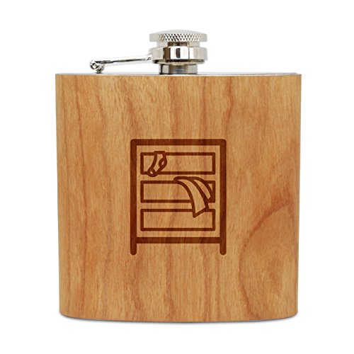 (WOODEN ACCESSORIES COMPANY Cherry Wood Flask With Stainless Steel Body - Laser Engraved Flask With Dresser Design - 6 Oz Wood Hip Flask Handmade In)