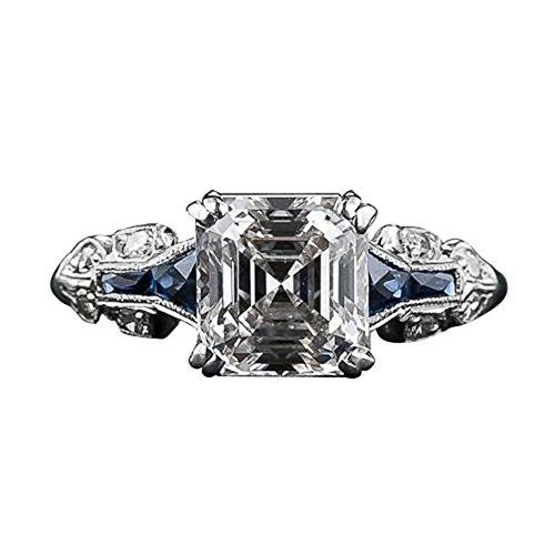 Vintage Princess Cut Artificial Topaz Women Finger Ring Bridal Wedding...