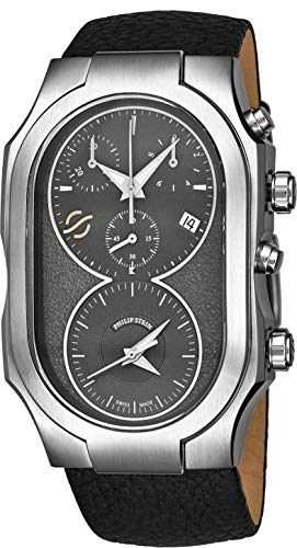 (Philip Stein Signature Mens Swiss Made Dual Time Zone Quartz Chronograph Watch - Natural Frequency Technology Provides More Energy and Better Sleep - Grey Face with Luminous Hands Black Leather Band)