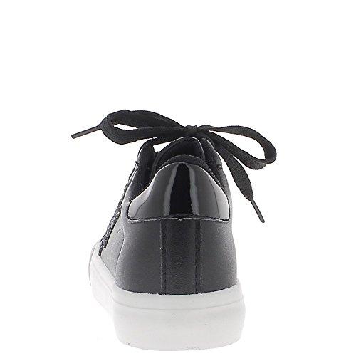 Baskets ville femme noires aspect cuir brillant avec semelle blanche et étoile paillettes