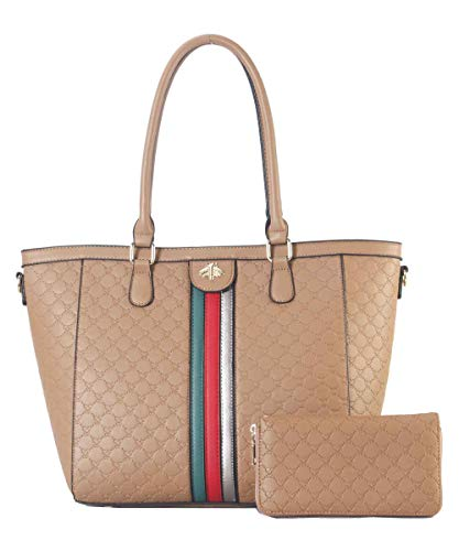(Women Handbags Top Handle Satchel Purse Shoulder Bag Briefcase Hobo Bag Set 2pcs KH)