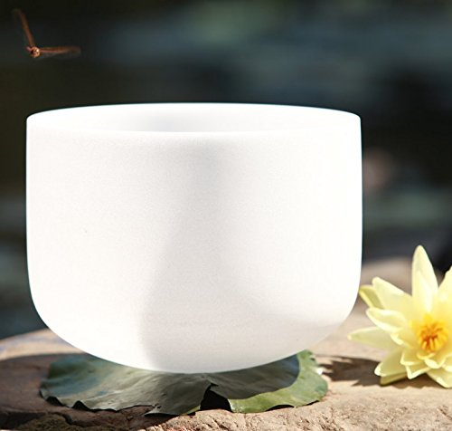 CVNC Frosted D Note Navel Chakra Quartz Crystal Singing Bowl 22 Inch ()