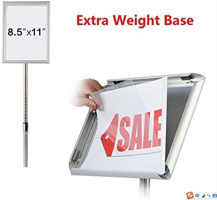 Both Vertical and Horizontal View Pedestal Sign Holder Floor Stand w//Telescoping Post /& Easy Open Poster Frame for 8.5x11 inches Paper Size Round Corner 8.5x11 inch