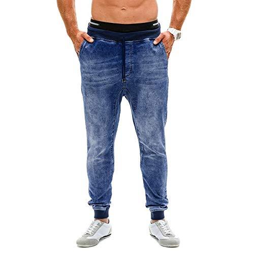 Creazrise Men's Vintage Washed Drop Crotch Comfort Stretch Jogger Denim Pants Jeans Trousers (Blue,XL) (Mens Denim Acid Blue Joggers)