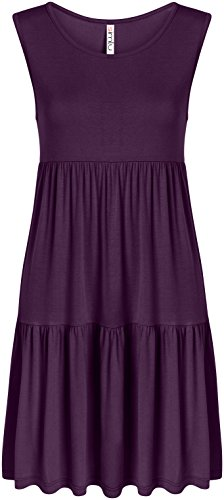 Plum Sleeveless Dress - Casual Tiered T Shirt Dresses for Women Reg and Plus Size Summer Sundress - USA Plum Sleeveless XXX-Large, Plum Sleeveless, 3X