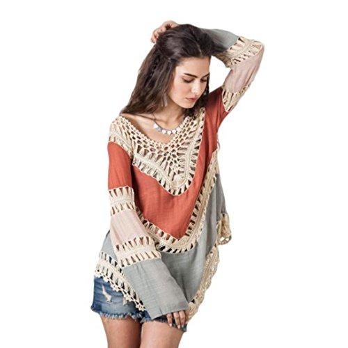 Wensltd Clearance! Sexy Women Lace Crochet Hollow Bikini Cover Up Beach Suit ( Khaki)