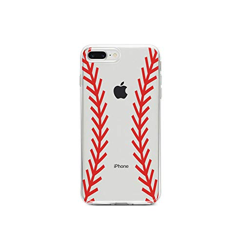 ❥ DistinctInk Clear Shockproof Hybrid Case for iPhone iPhone 7 Plus / 8 Plus - TPU Bumper, Acrylic Back, Tempered Glass Screen Protector - Red Baseball Stitching orange iphone 7 plus case 4