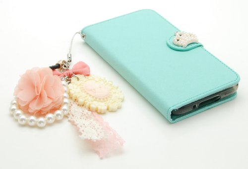 ZZYBIA® S5 TCV Teal Leatherette Stand Case Card Holder Wallet with a Romantic Victorian Dust Plug Charm for Samsung Galaxy S5 I9600