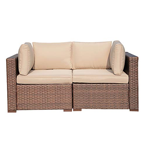 PATIORAMA Outdoor Furniture All Weather Rattan Loveseat Brown Wicker Patio Sofa Chairs Additional Extra Seats for Outdoor Sectional Sofa,Beige Velcro ()