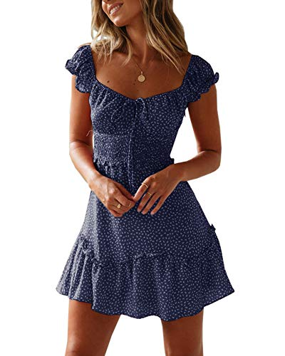 (Yobecho Womens Summer Ruffle Sleeve Sweetheart Neckline Printing Dress (Small, Navy Blue))
