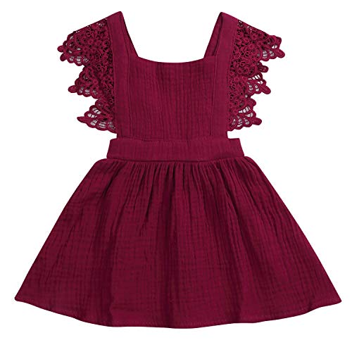 YOUNGER TREE Toddler Baby Girls Summer Cotton Lace Sleeve Princess Overall Dress Backless Sundress (Wine Red, 6-12 Months) (Red Wine Lace Dress)