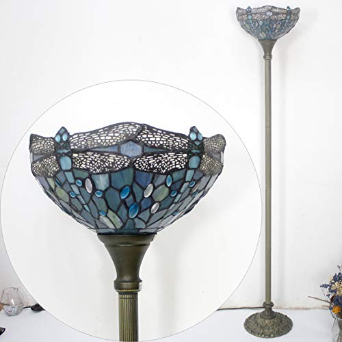 Tiffany Style Torchiere Light Floor Standing Lamp Wide 12 Tall 66 Inch Sea Blue Stained Glass Crystal Bead Dragonfly Lampshade for Living Room Bedroom Antique Table Set S147 WERFACTORY by WERFACTORY (Image #6)