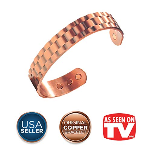 Earth Therapy, The Original Pure Copper Magnetic Healing Bracelet, for Golf and Sport Injury Recovery, Arthritis, and Joint Pain Relief - Heavyweight Cuff Style - Adjustable - for Men