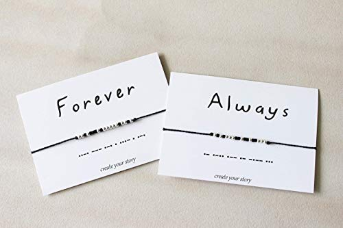 Always and Forever Couples Promise Bracelets, Long Distance Morse Code Bracelet for Couples, Relationship Bracelets, Distance Gifts, Girlfriend Boyfriend gifts