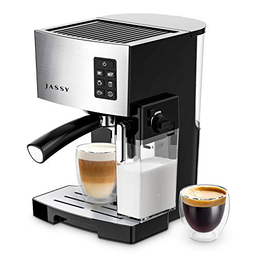 JASSY Espresso Machine, Multifunction Coffee Machine with Automatic Milk Frother, 19 Bar Pressure Coffee Brewer, Programmable, for Espresso, Double Espresso, Cappuccino, Latte, Black (JS100)