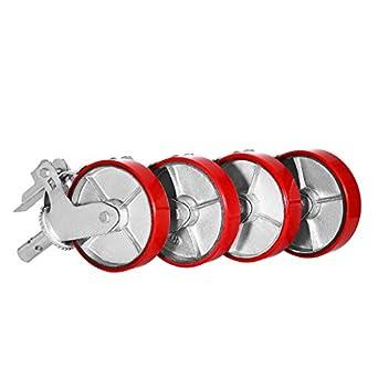 geindus Juego de 4 ruedas Poliuretano 800lbs andamios andamios andamio ruedas Caster Rueda de hierro con freno de bloqueo: Amazon.es: Amazon.es