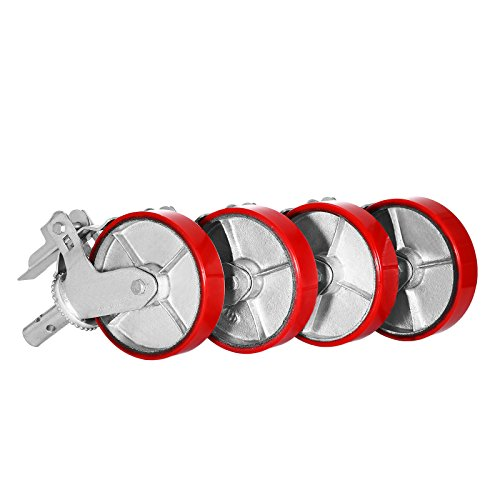 OrangeA Scaffolding Casters 8 X 2 Inch Scaffolding Polyurethane Wheel Set of 4 Scaffolding Caster Iron Core PU Wheel Brake Lock Heavy Duty