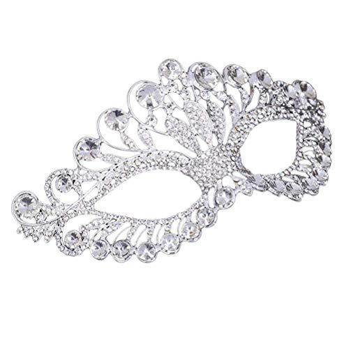 Polymer Luxury Elegant Diamond Rhinestone Mask Masquerade Party Crown Alloy Mask for Women(Silver)