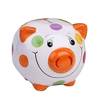 ZCHING Ceramic Pig Piggy Bank Savings Coin Banks Personalized Nursery Decor for Kids Baby Girl Gift (red)