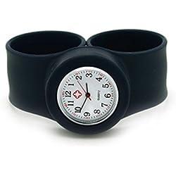 Vavna Silicone Nurse Watch -Slap On Watch - Black - Adult Large Size