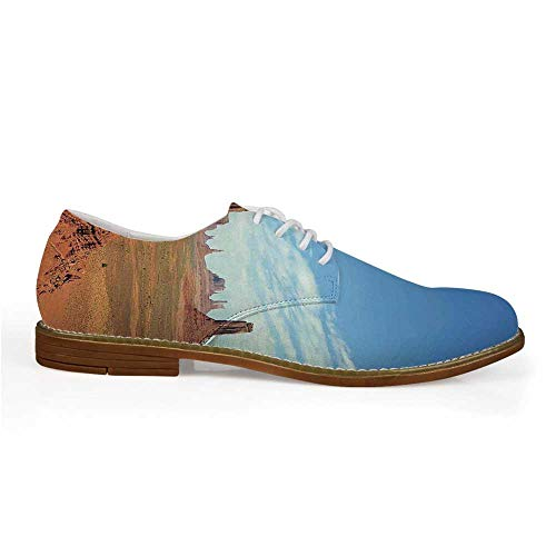 American Stylish Leather Shoes,Scenic View of Monument Valley Sandstone Butte Rocks Wild West Desert Landscape for Men,US 12