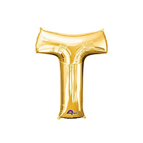 Regina 106488.6, Balão Metalizado Super Shape Letra T Pack, Dourado