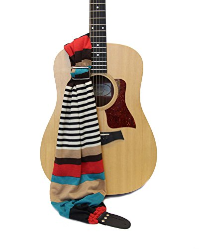- Guitar Strap; Retro Stripe Scarf Strap by Capturing Couture ; NEW & Exclusive; Patent Pending Design for the Ultimate in Comfort and Style ; Proudly Made in the USA for Acoustic Electric or Bass; Fast &