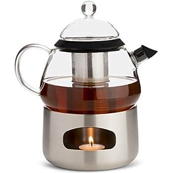 Elfin Glass Teapot with Loose Leaf Tea Infuser and Tea Pot Warmer - Scandi Style Tea Maker Gift Set