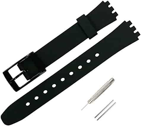 KHZBS Silicone Children's Watch Strap Replacement for Swatch case Diameter 25mm Swiss Quartz Watch Band(12mm)