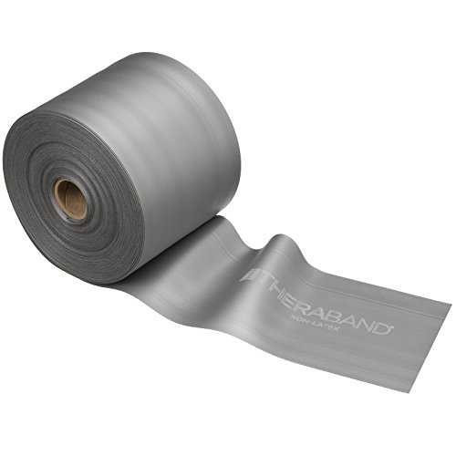 TheraBand Resistance Band 25 Yard Roll, Super Heavy Silver Non-Latex Professional Elastic by TheraBand
