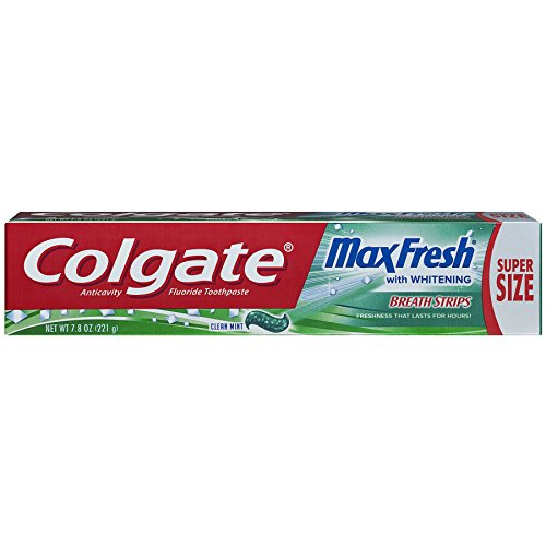 (Colgate Max Fresh Whitening Toothpaste with Breath Strips - Clean Mint, 7.8)